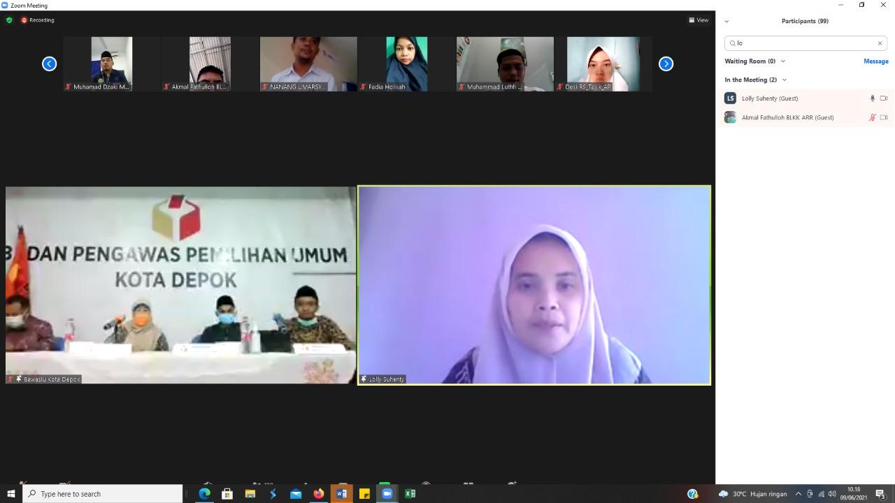 Bawaslu Depok Gelar Webinar Refleksi dan Proyeksi Pengawasan Penggunaan Media Sosial dalam Demokrasi Elektoral